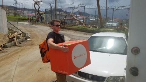 Medical supplies are delivered in Dominica. (Andrew MacCalla/Direct Relief)