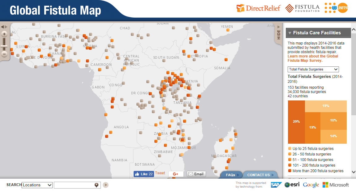 The map above records surgical facilities around the world that provide obstetric fistula repair for women. Click to explore the map.