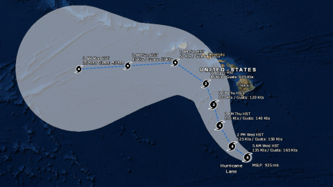 Hurricane Lane's projected path can be seen in the map above. Click the image to expand.