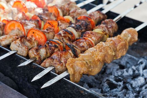 Appetizing Fresh Meat on a shish kebab