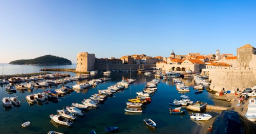 panoramic view of old port and St John fort in Dubrovnik, Croatia