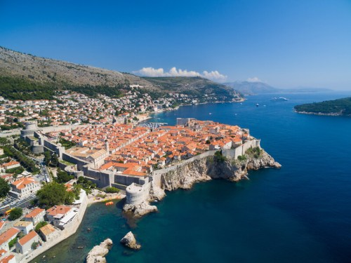 Aerial view of old city of Dubrovnik (Croatia), popular tourist