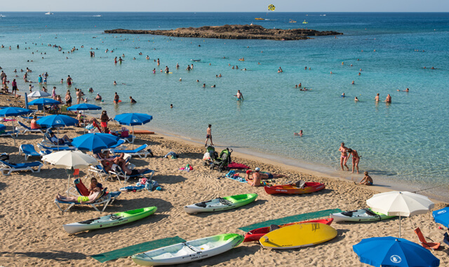 Tourists At Fig Tree Bay Protaras ,  Cyprus