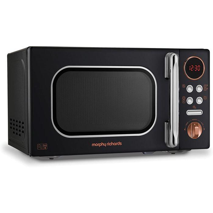 morphy richards 511503 new standard microwave oven 20l 800w black rose gold