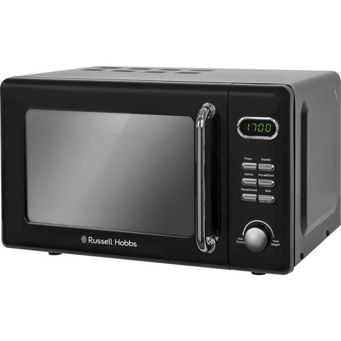 russell hobbs rhretmd706b new retro digital microwave oven solo 800w 17l black
