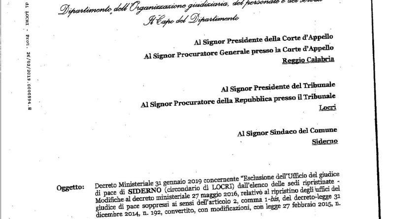Esclusione dell'Ufficio del Giudice di Pace di Siderno dall'elenco delle sedi ripristinate. Il Decreto Ministeriale