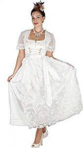 Kruger Damen Hochzeit Dirndl Lang Trachten Kleid Hope Weiss 85cm