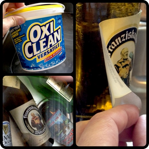 Removing labels is easy with OxiClean. DO try this at home!