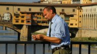 Victor Borgo on his bridge of contemplation in Florence