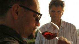 Victor Borgo tastes  wine with Massimo
