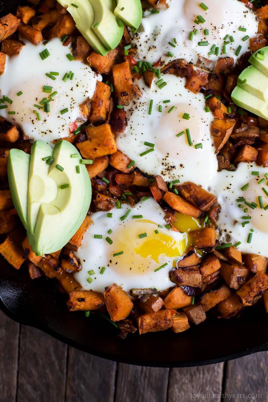 Smoky Bacon Sweet Potato Hash & Eggs