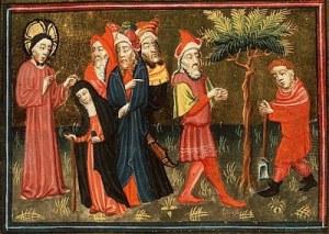 Alexander Master, Jesus heals the crippled woman; The parable of the barren fig-tree, Koninklijke Bibliotheek, The Hague, 1430