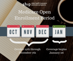 Medicare Open Enrollment Period Oct-Dec, coverage begins Jan
