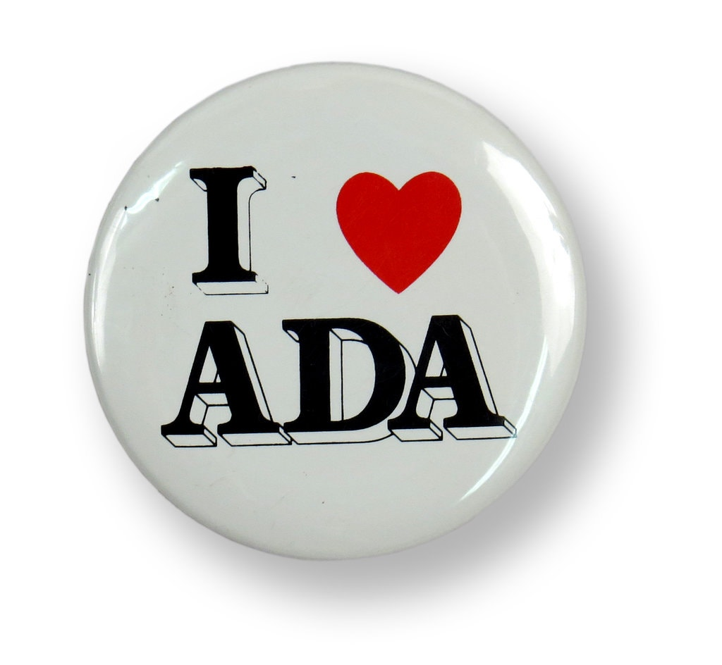 "Button that says ""I heart A D A"""