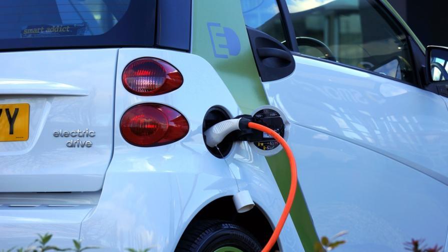 An electric car charging