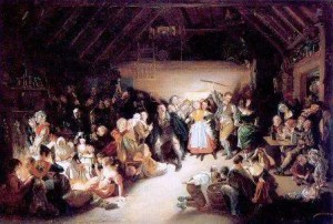 Snap-Apple Night by Daniel Maclise showing a Halloween party in Blarney, Ireland, in 1832. The young children on the right bob for apples. A couple in the center play a variant, which involves retrieving an apple hanging from a string. The couples at left play divination games.