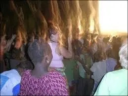 Camera captures FIRE falling on people in Mozambique