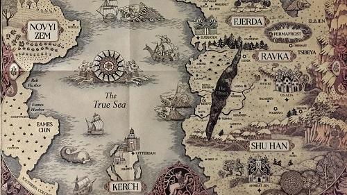 Mappa del mondo fantasy chiamato grishaverse