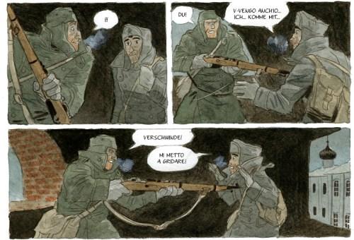 L'incontro di Attilio e Fuchs in La terra, il cielo, i corvi
