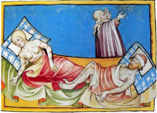 Due malati di peste bubbonica vengono assistiti da un medico in una miniatura del Trecento