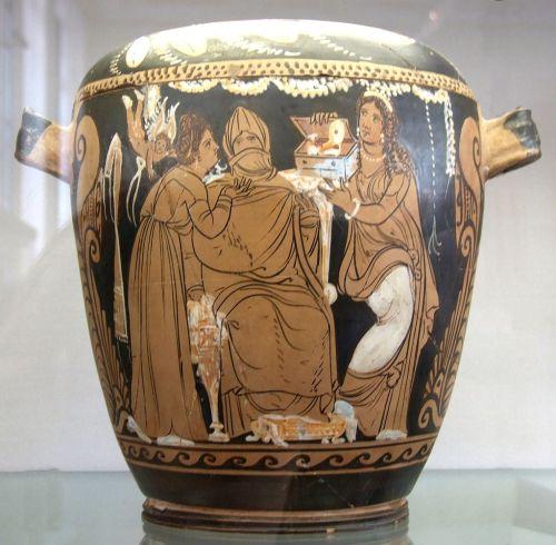 Su un vaso antico è raffigurata la vestizione della sposa