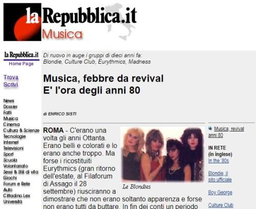 Un articolo di Repubblica che parla di revival (quindi, un tema molto legato al nostro reminiscence bump)