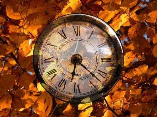 Un'orologio tra i colori autunnali
