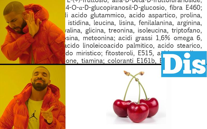 Il meme di Drake con la composizione chimica della ciliegia comparato con tre ciliegie, per rappresentare la chemofobia