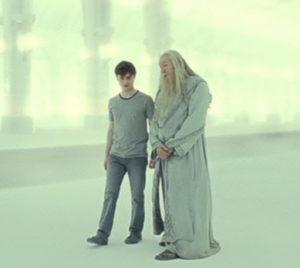 Harry Potter e Albus Silente parlano dopo il sacrificio di Harry dentro la Foresta Proibita