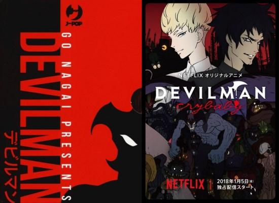 A sinistra il box Devilman (Credits: J-Pop), a destra la locandina della serie tv (Credits: Netlfix)