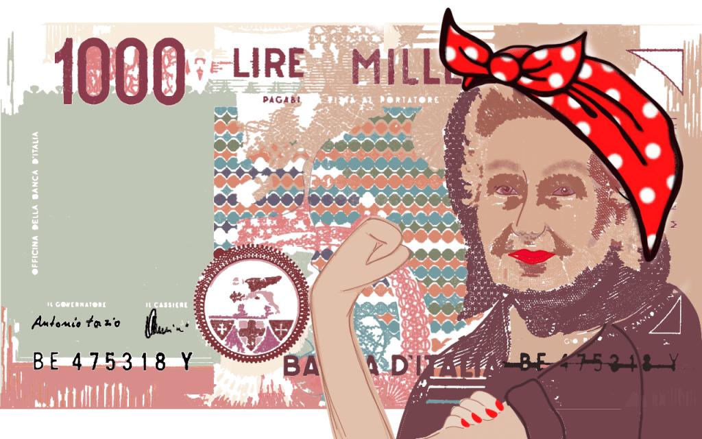 Maria Montessori rappresentata come una femminista sulle mille lire
