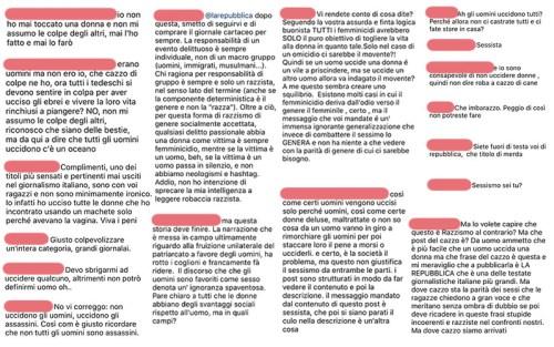 Alcuni commenti al post di Repubblica su Instagram. Tante parole, un solo concetto: #NotAllMen
