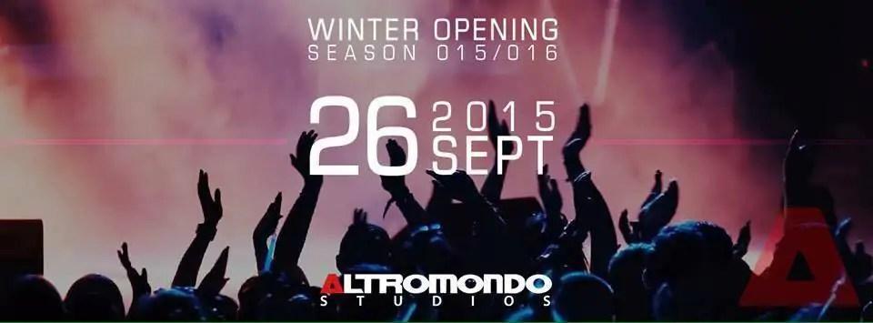 SABATO 26/09/2015 ALTROMONDO STUDIOS OPENING PARTY + PREZZI PREVENDITE BIGLIETTI TAVOLI + PULLMAN