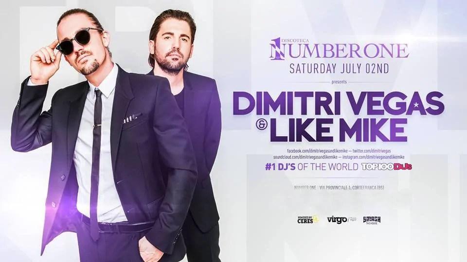 Dimitri Vegas & Like Mike al Number One Brescia 02 Luglio 2016 Tour Italia 2016