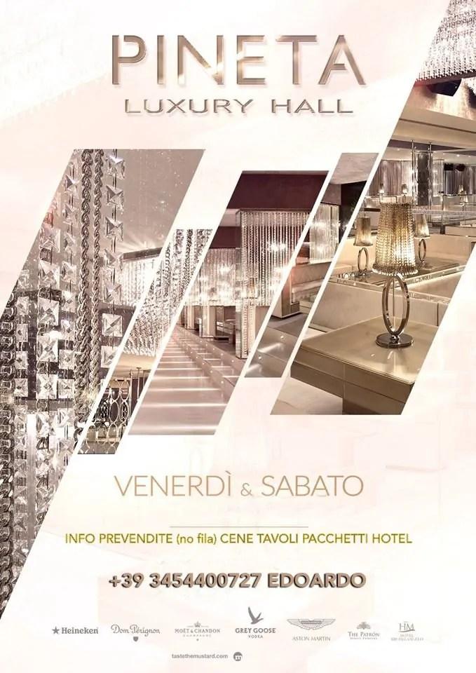 VENERDÌ 15 LUGLIO 2016 PINETA LUXURY HALL MILANO MARITTIMA + PREZZI PREVENDITE TAVOLI PACCHETTI HOTEL