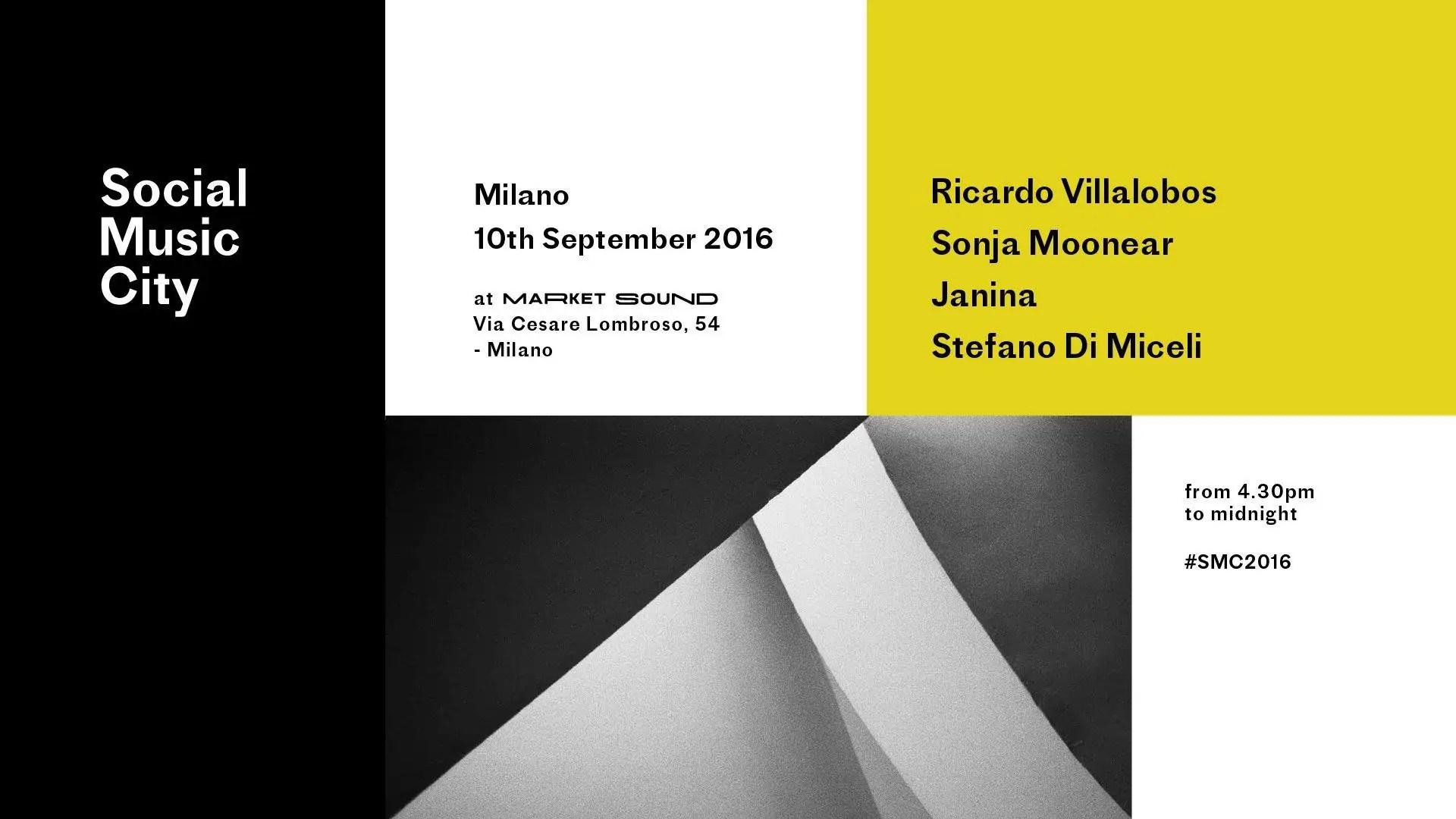 SOCIAL MUSIC CITY RICARDO VILLALOBOS 10 SETTEMBRE 2016 al MARKET SOUND MILANO
