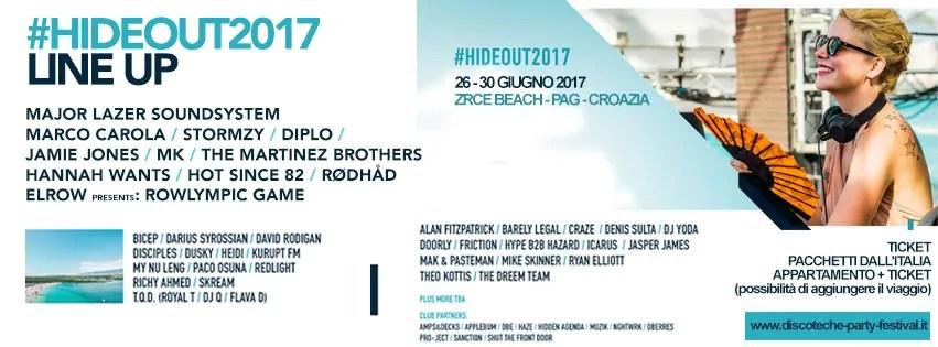 HIDEOUT FESTIVAL 2017 – CROAZIA – PAG Linup Ticket Pacchetti Appartamento