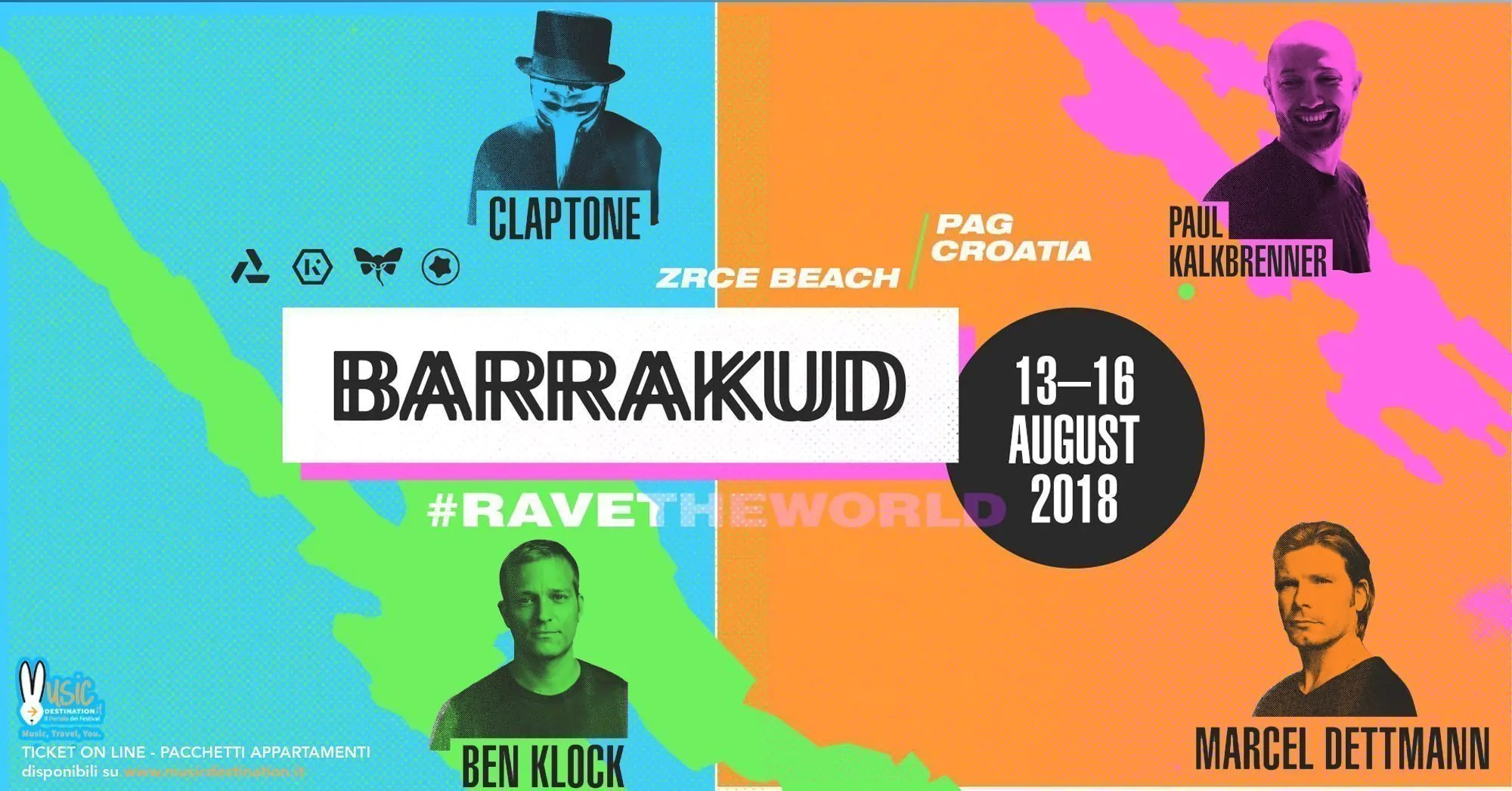 BARRAKUD Festival 2018, 13 – 16 Agosto – Pag Croazia – Ticket – Appartamento