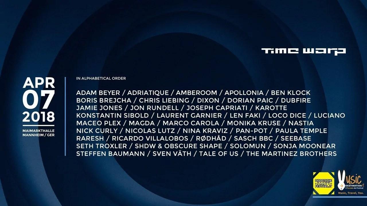 Time Warp 2018 Mannheim, 7 Aprile 2018 Germania