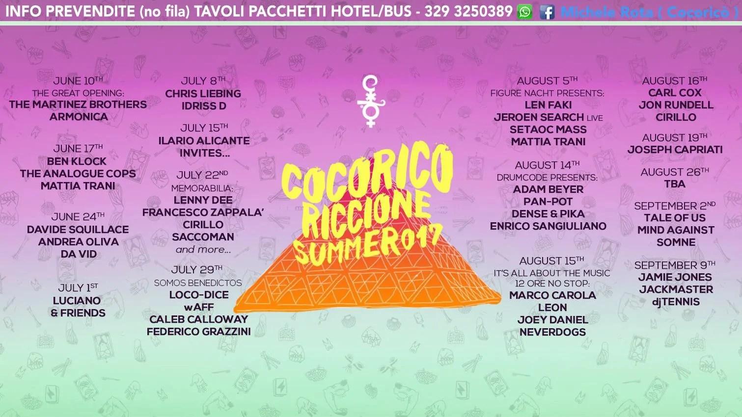 29 07 2017 LOCO DICE COCORICÒ Riccione PREZZI + Ticket + PREVENDITE BIGLIETTI TAVOLI HOTEL + PULLMAN