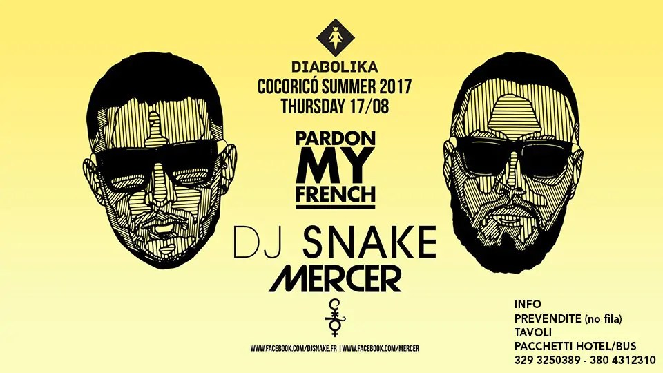 17 08 2017 DJ SNAKE at COCORICÒ RICCIONE PREZZI + TICKET + PREVENDITE BIGLIETTI TAVOLI HOTEL + PULLMAN