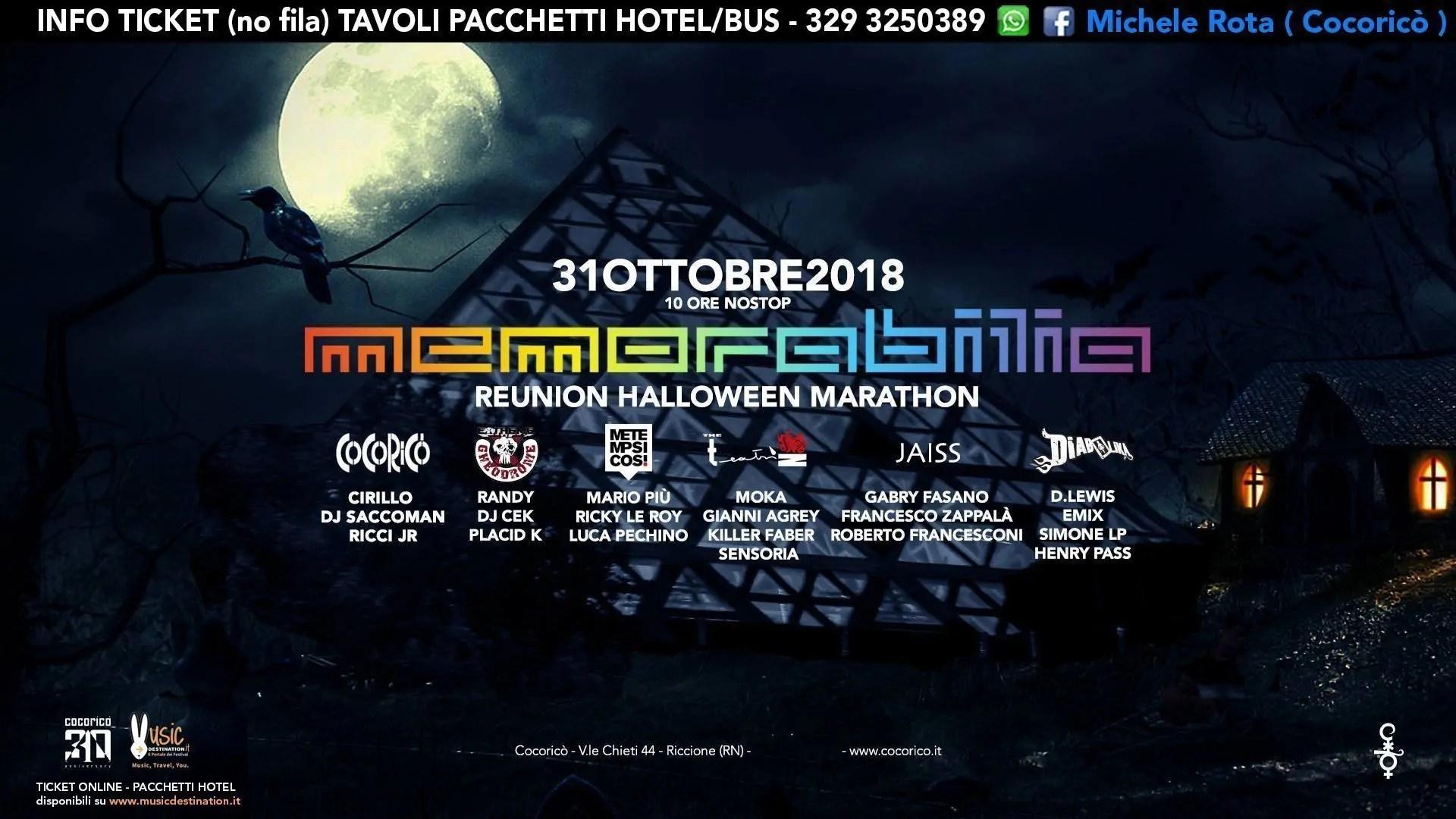 31 Ottobre 2018 HALLOWEEN MEMORABILIA Cocorico Riccione   Prezzi Ticket Pacchetti Hotel Bus
