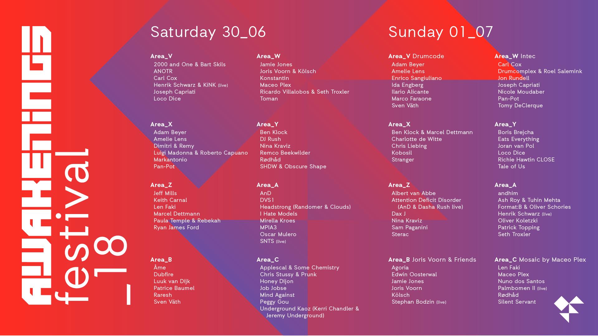 AWAKENINGS Festival 2018, Spaarnwoude Amsterdam | 30 Giugno – 01 Luglio  | Ticket Pacchetti Hotel