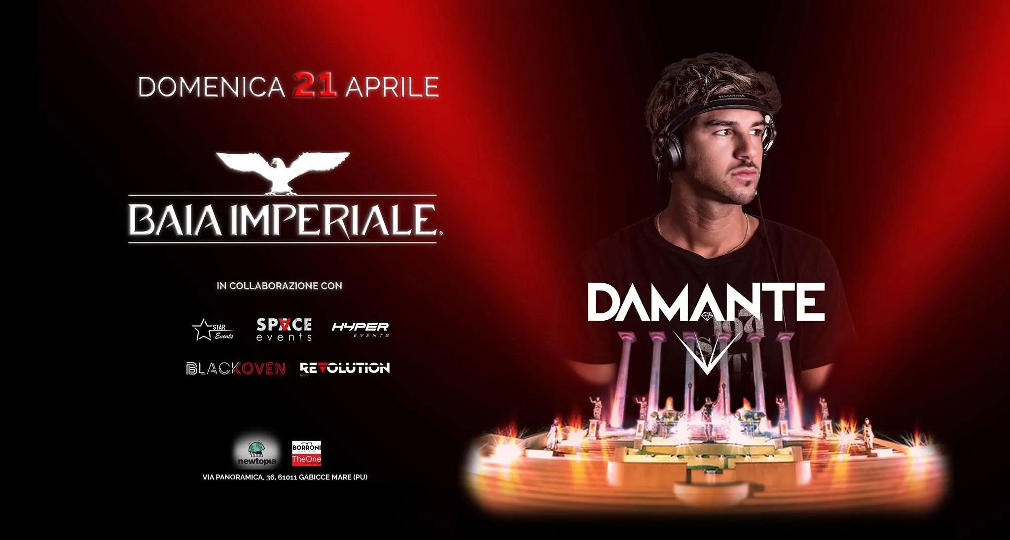 PASQUA 2019 alla BAIA IMPERIALE – ANDREA DAMANTE – 21 Aprile 2019 | Ticket Tavoli Pacchetti hotel Prevendite
