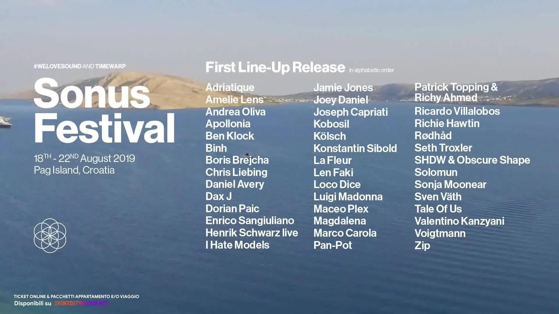 SONUS FESTIVAL 2019, 18 – 22 Agosto – Zrce Beach Pag Croazia – Ticket Pacchetti appartamento