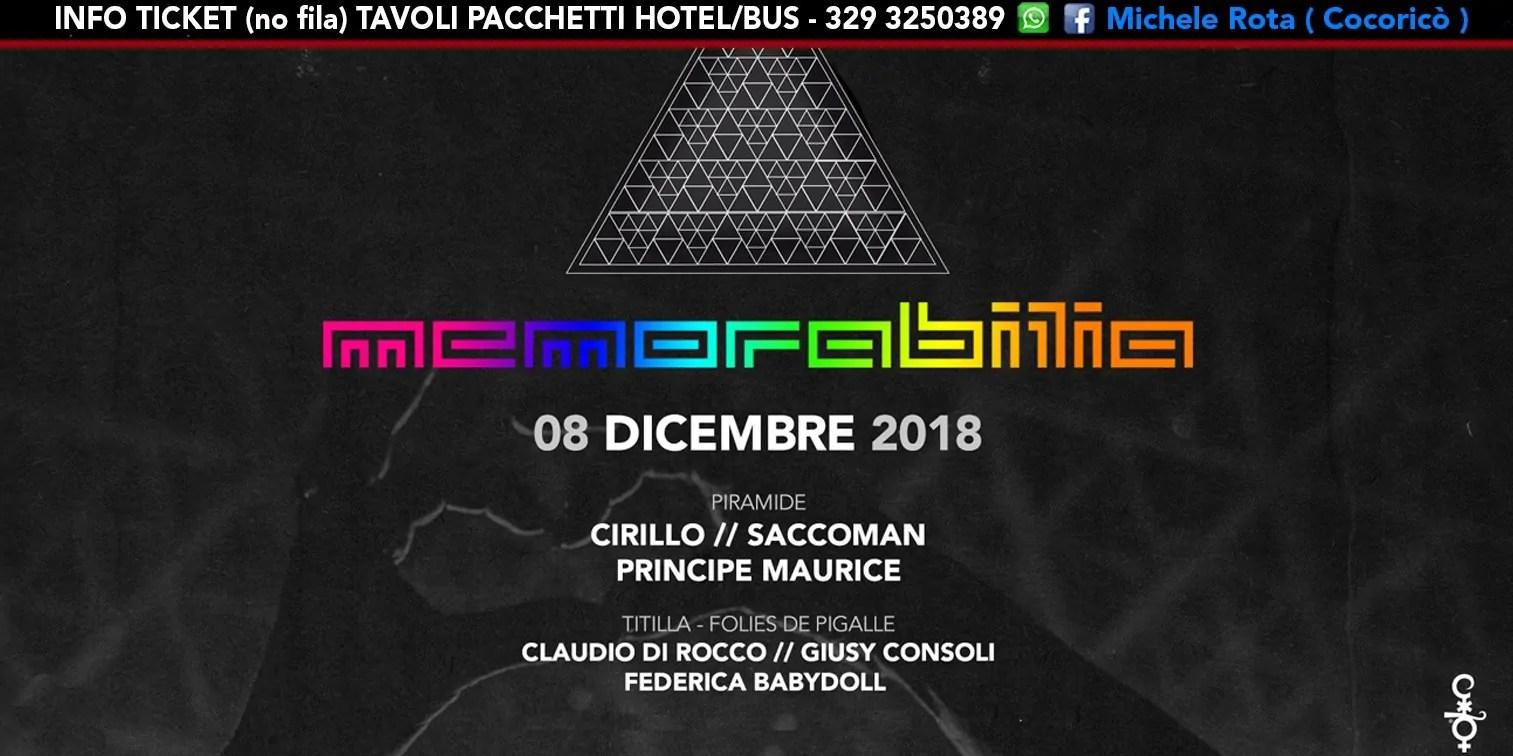 Memorabilia al Cocoricò Riccione – Sabato 08 Dicembre 2018 | Ticket Tavoli Pacchetti hotel Prevendite