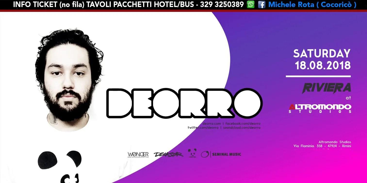 DEORRO ALTROMONDO STUDIOS Riviera 18 AGOSTO 2018 Ticket Tavoli Pacchetti Hotel