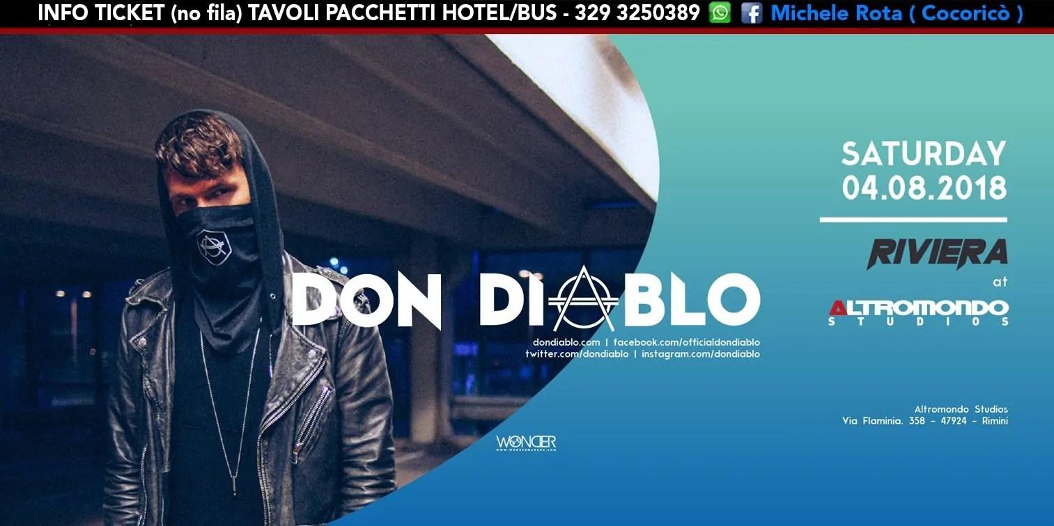 DON DIABLO ALTROMONDO STUDIOS Riviera 28 AGOSTO 2018 Ticket Tavoli Pacchetti Hotel