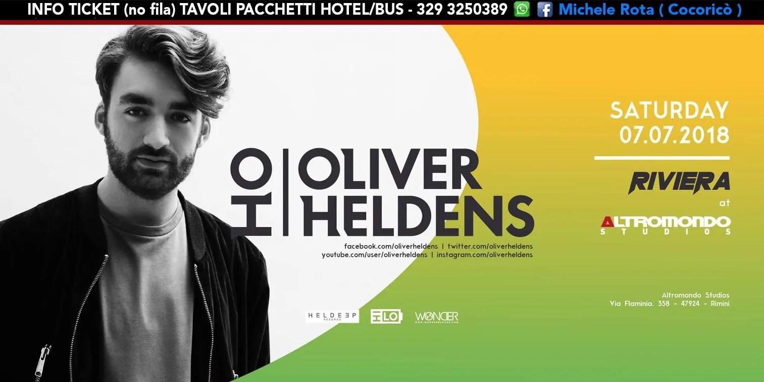 OLIVER HELDENS ALTROMONDO STUDIOS Riviera 07 Luglio 2018 Ticket Tavoli Pacchetti Hotel