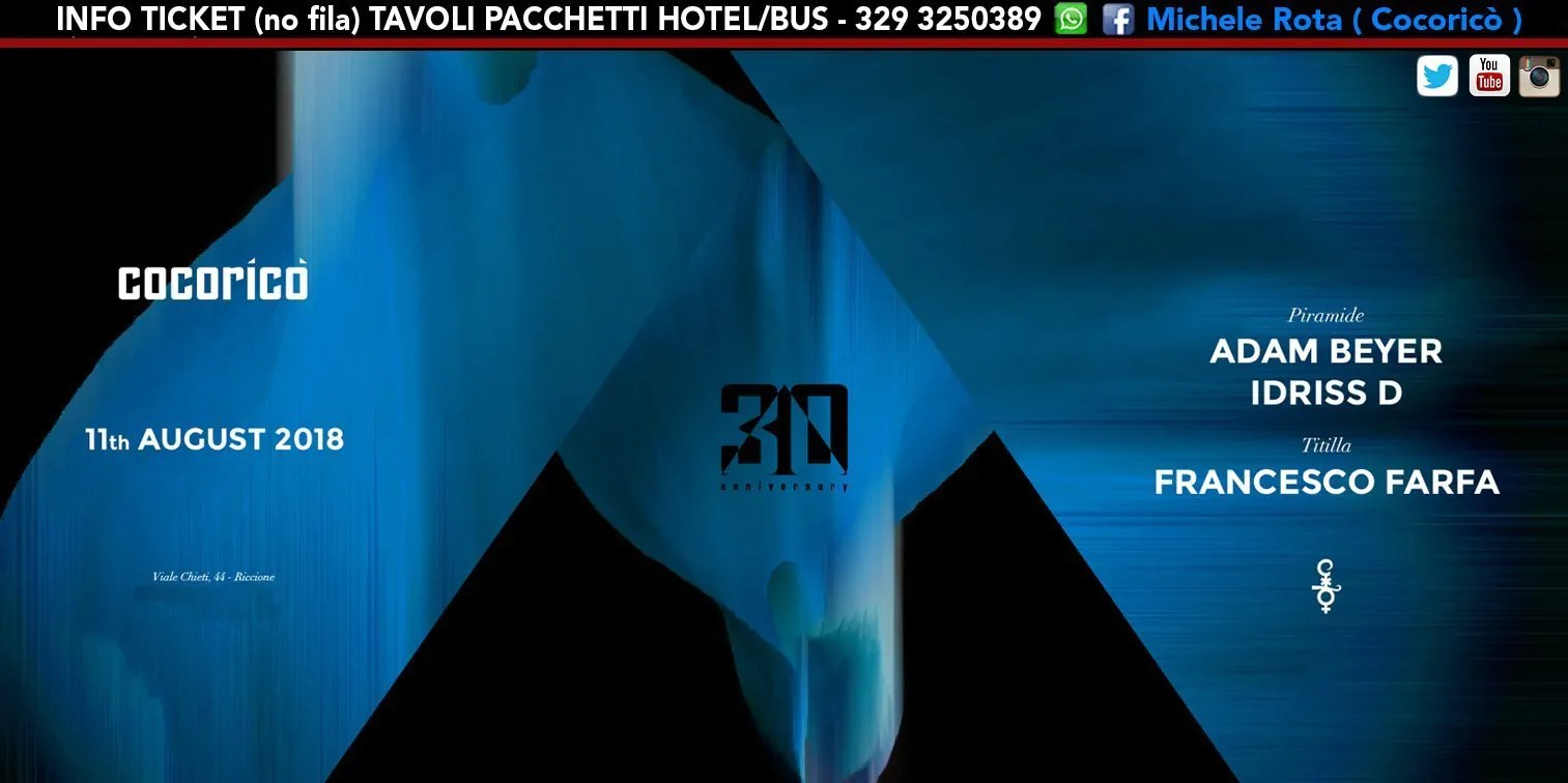 ADAM BEYER al Cocoricò Riccione – Sabato 11 Agosto 2018 | Ticket Online Tavoli Pacchetti hotel Prevendite